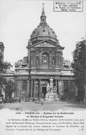 101 Eglise de la Sorbonne et statue d'Auguste Comte
