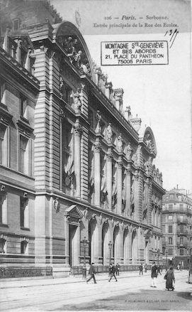 107 La Sorbonne. Entrée principale rue des Ecoles