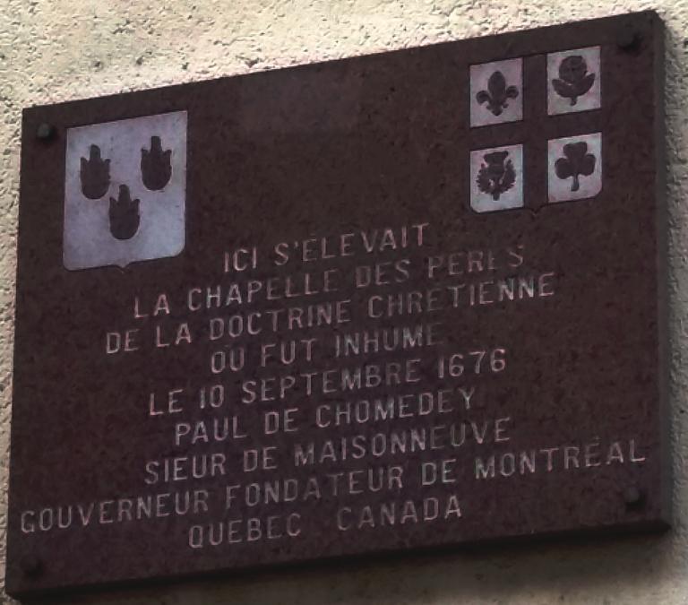 Plaque de Paul de Chomedey de Maisonneuve 10 rue Rollin 75005