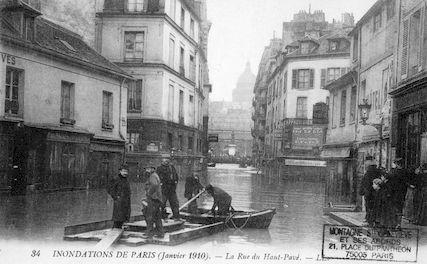 300A Inondations de Paris (janvier 1901). La rue du Haut-Pavé