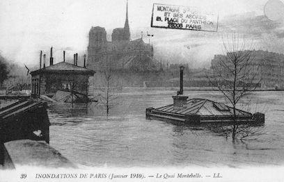 306 Inondations de Paris (Janvier 1910). Le Quai Montebello