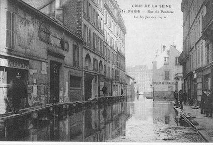 308 Crue de la Seine. Rue de Pontoise le 30 janvier 1910