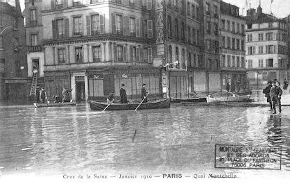 314 Crue de la Seine. Janvier 1910. Quai Montebello