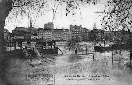326 Crue de la Seine (NOVEMBRE1910) Un jardin au port de l'Hôtel de Ville