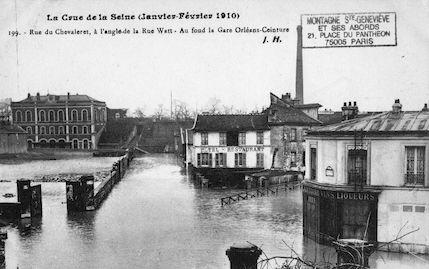 365 Crue de la Seine (jan-fév 1910) Rue du Chevaleret à l'angle de la rue Watt