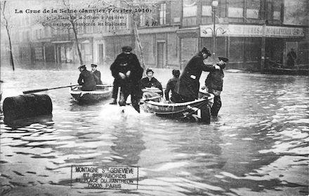 386 Crue de la Seine (jan-fév 1910) Place de la Station à Asnières. JPG
