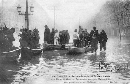 402 Crue de la Seine (jan-fév 1910) Marine de guerre et Pontonniers à Maison-Alfort