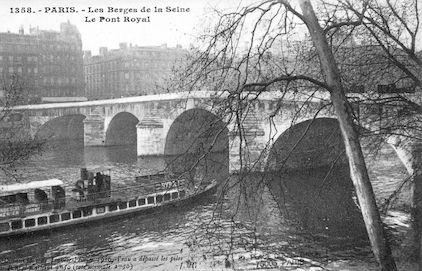 437 Crue de la Seine (jan-fév 1910) Pont Royal. Cote 9m50(normale 2m50)