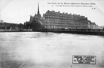 440B Crue de la Seine (jan-fév 1910) Pont St. louis. L'eau atteint la clef de voûte