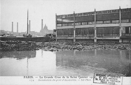446 La grande crue de la Seine (janvier 1910) Inondation du port d'Austerlitz