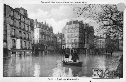 469-recto Souvenir des Inondations de Janvier 1910. Quai de Montebello