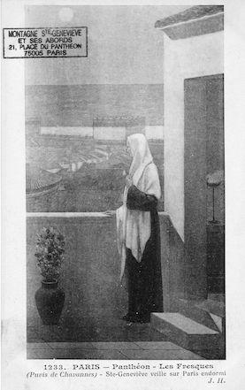 477 Panthéon. les Fresques (Puvis de Chavannes). Ste Geneviève veille sur Paris endormi