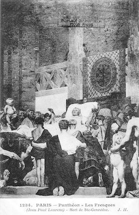 478 Panthéon. Les Fresques (J.P. Laurens) Mort de Ste Geneviève copie
