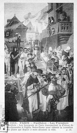 479 Panthéon  Fresques (Maillot). Transfert de la châsse de Ste Geneviève