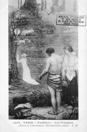 480 Panthéon.  Fresques de Puvis de Chavannes. Ste Geneviève enfant