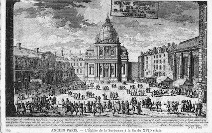 489 Ancien Paris. L'église de la Sorbonne à la fin du XVIIème siècle