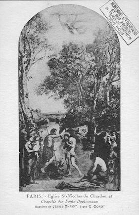 494 Eglise St. NIcolas du Chardonnet. Fonts baptismaux. Baptème du Christ de C. Corot