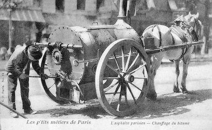 519 Les p'tits métiers de Paris. L'asphalte parisien. Chauffage du bitume