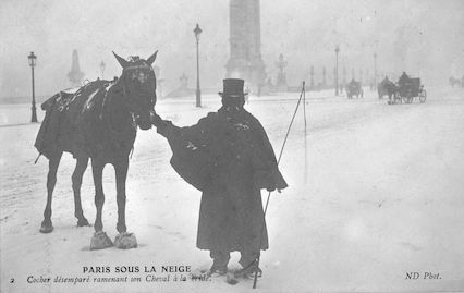 537 Paris sous la neige. Cocher désemparé ramenant son Cheval à la bride