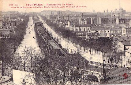 705 Perspective du métro prise de la Butte-aux-cailles, boulevard Auguste Blanqui