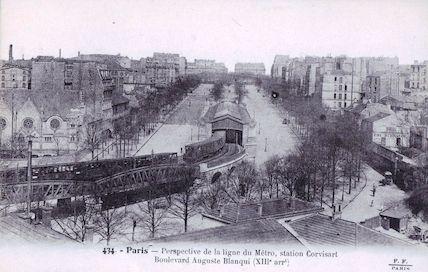 719 Perspective de la ligne de métro, station Corvisart, boulevard Auguste Blanqui
