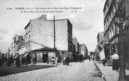 729 Carrefour de la rue des cinq diamants et de la rue de la Butte-aux-cailles