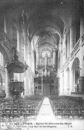 74 Eglise St Etienne-du- Mont. La nef et les orgues