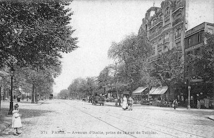 758 Avenue d'Italie prise de la rue de Tolbiac