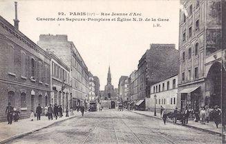 829.  Rue Jeanne d'Arc. La caserne des sapeurs pompiers et N.D. de la Gare
