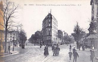 834.  Avenue d'Italie et de Choisy, de la rue de Tolbiac