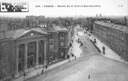 91 mairie du Vème ardt et rue soufflot vue du Panthéon