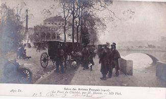 996. Salon des artistes français de 1910. La place du Chatelet par H. Durien