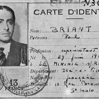 Pierre Brossolette-carte d'identité: Paul Briant 1942-1943
