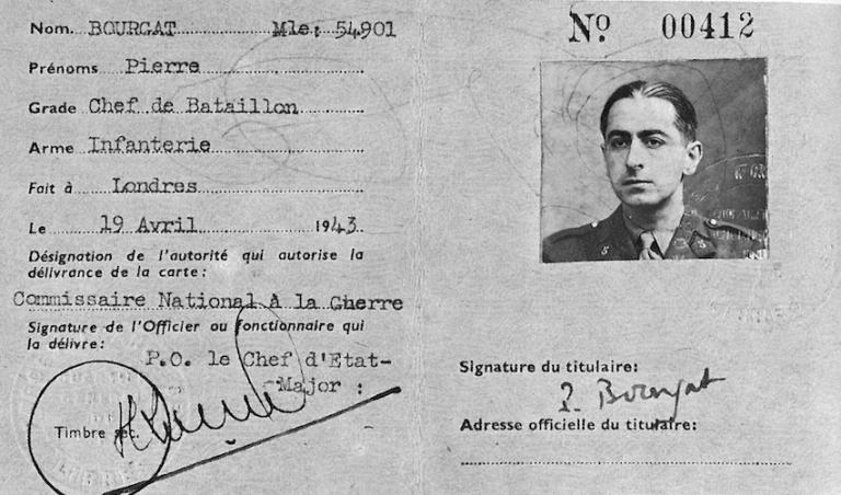 Pierre Brossolette-carte-militaire: Pierre Bourgat-avril 1943